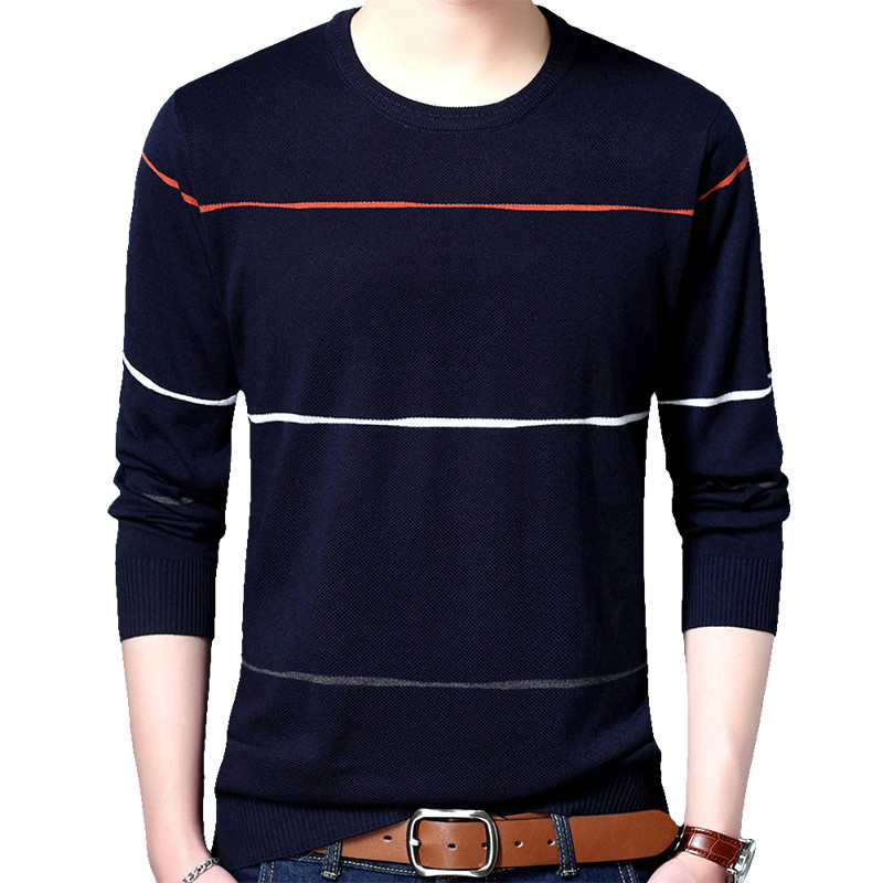 2019 Men's Pullover Sweaters Casual Crocheted Striped Knitted Sweater Men Masculino Jersey Clothes Brand Social Cotton Thin