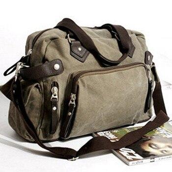 新しいショルダーカジュアルバッグメッセンジャーバッグキャンバスマン旅行ハンドバッグ男性のための旅行/毎日の使用、グレーカーキ黒色送料無料