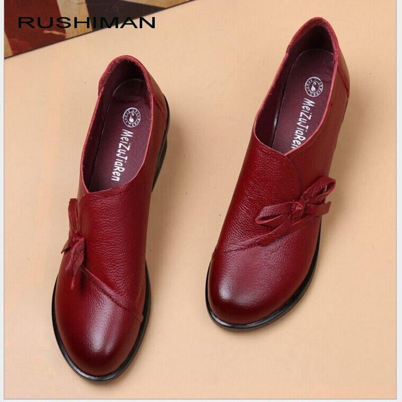 RUSHIMAN Printemps Automne Mocassins De Mode 100% En Cuir Véritable Chaussures Simples Doux Occasionnels Chaussures Plates Femmes Appartements mère chaussures 35-40 #