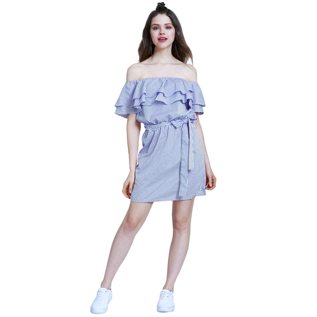 de0cfeb5094 Women Ruffle Short Dress Off Shoulder Sexy Mini Sashes Striped Dress Blue  Pink Sweet Young Girls Fashion Summer Casual Dress