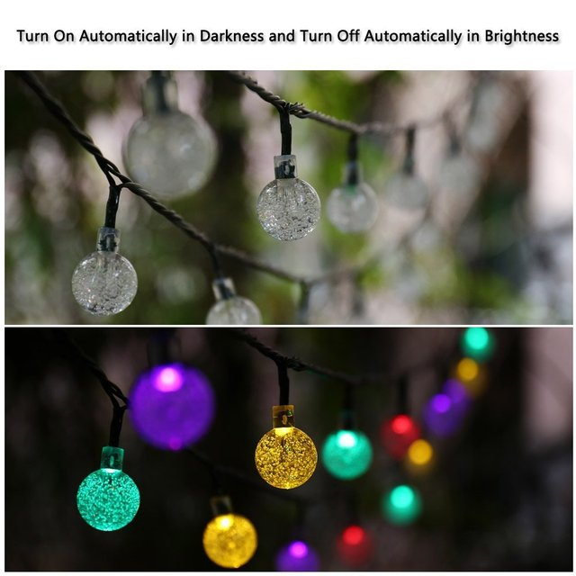 20ft 30 LED Crystal Ball Solar Powered lederTEK Brand Most Popular Globe Fairy Lights for Outdoor Garden Christmas Decoration