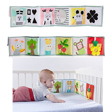 JJOVCE Baby Crib Bumper Double-sided Cloth Book Reversible Infant Baby Pram Bed Bumper Protector for Newborn Baby Educational(China)
