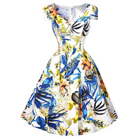 Sexy Retro Rockabilly Vintage Dresses Swing Housewife Picnic Summer style 2016 floral printed pinup dress for women