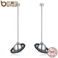 BAMOER 925 Sterling Silver 2 Ways Black AAA Planet Long Drop Earrings For Women Fashion Sterling