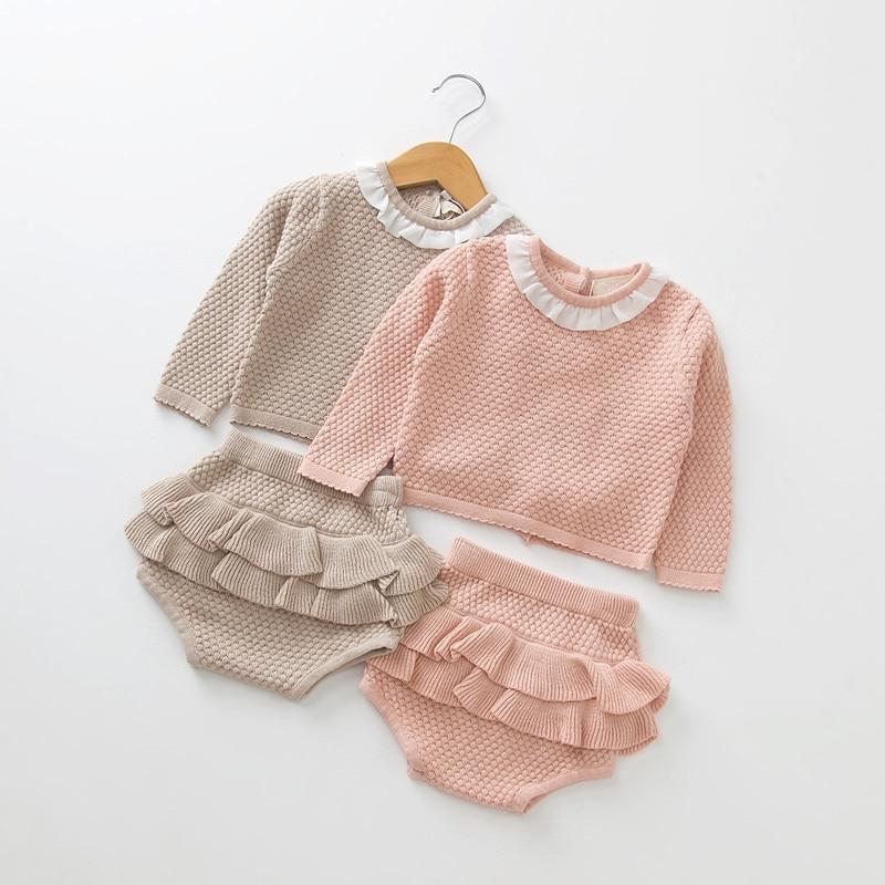 0-2 Year Old Clothing New 2019 Autumn Baby Girls Suit Knit Cotton Baby Long Sleeve Blouse + Lotus Leaf Shorts Baby Clothing Set