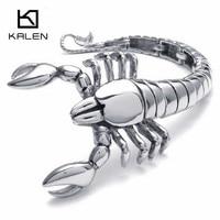 Kalen Acier Inoxydable Argent Animaux Scorpion Charme Bracelets Pour Hommes de Haute Qualité 316 Acier Métal Punk Scorpion Bracelet Bijoux