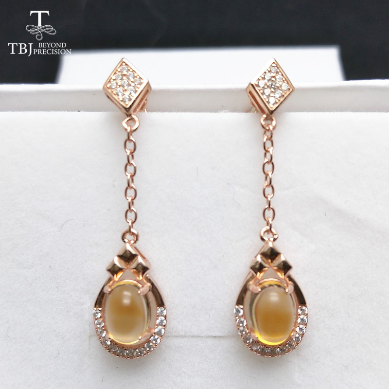 все цены на TBJ,Elegant earring with natural citrine gemstone earring in 925 sterling silver rose color for girls with gift box,special gift онлайн