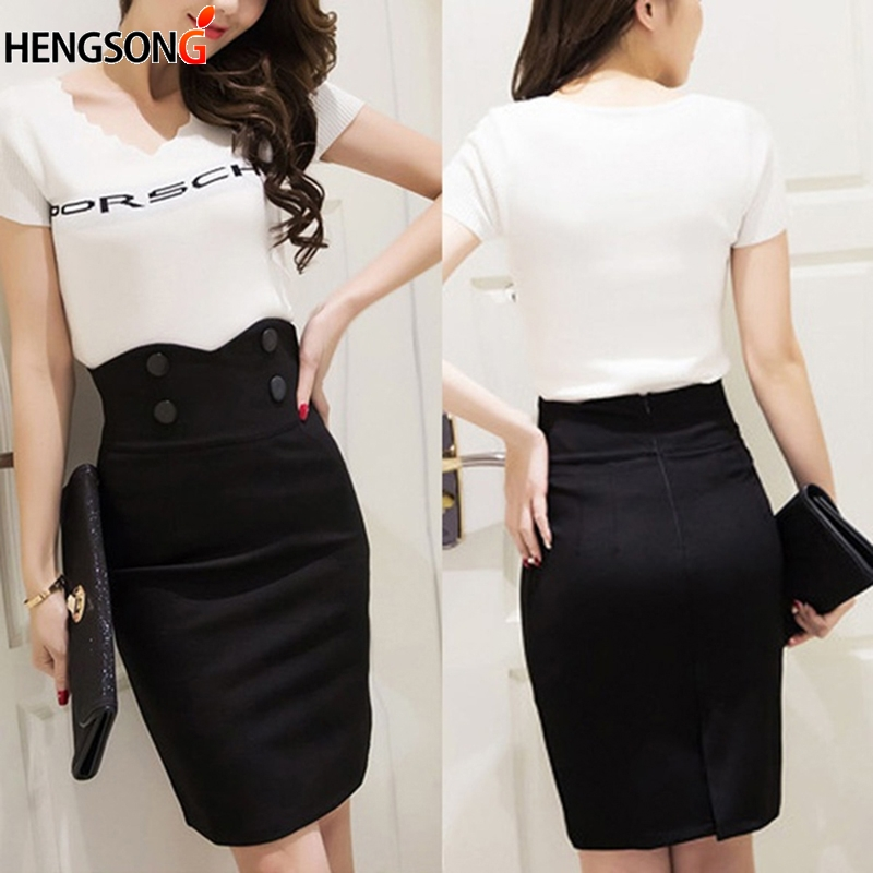 HEGNSONG 2018 Autumn Mini Pencil Skirts Women Sexy Slim Package Hip Skirt Bodycon High Waisted Stretch Skirt Plus Size 746199