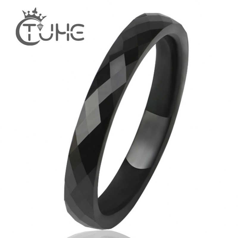 3 MM Licht Schwarz Weiß Keramik Ringe Für Frauen Männer Glatte Cut Oberfläche Keramik Schmuck Männlichen Ring Mode Hochzeit Ring großhandel