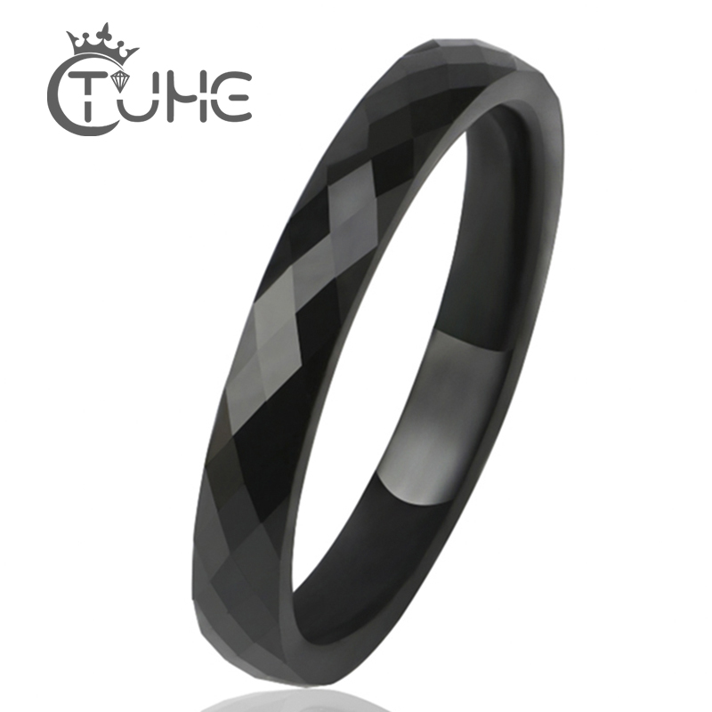 3 MM Light Black White Ceramic Rings For Women Men Smooth Cut Surface Ceramic Jewelry Male Ring Fashion Wedding Ring Wholesale(China)