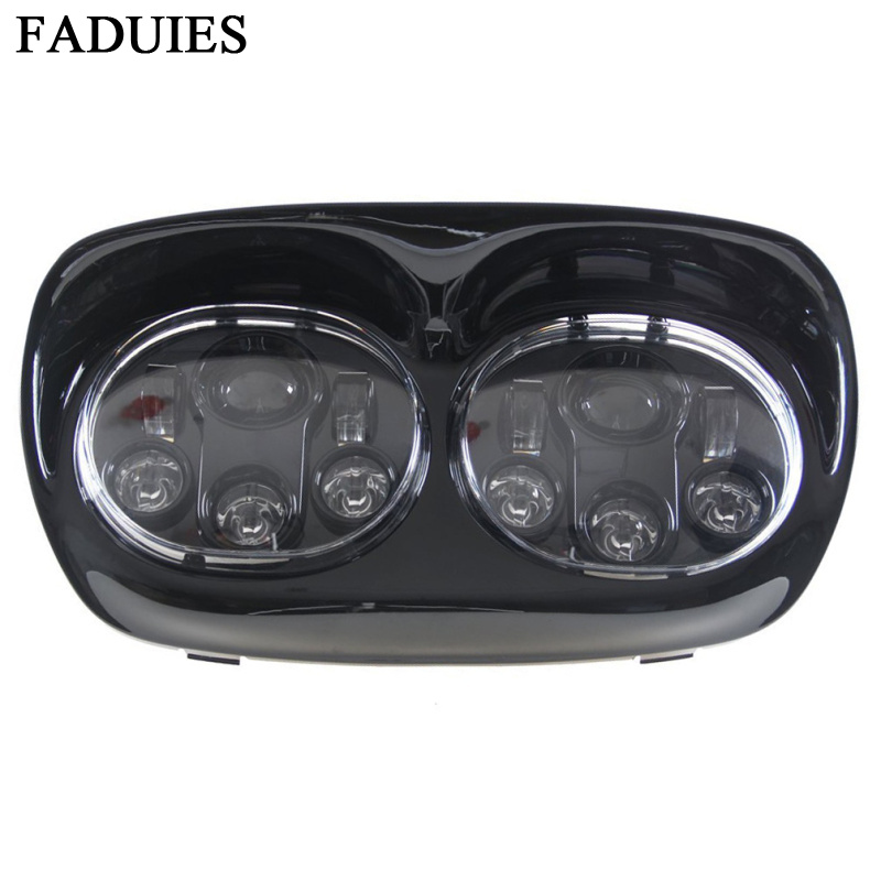 FADUIES 5.75 inch LED Motorcycle Headlight 5 3/4 Daymaker Projector Dual LED Headlight For Harley Davidson Road Glide 2004 2013