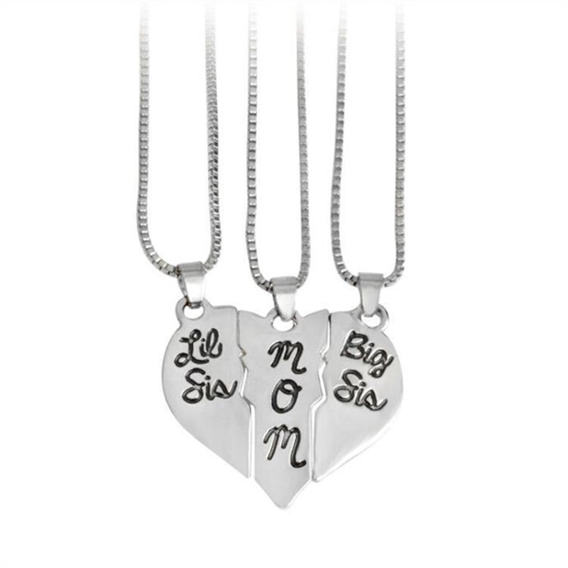 3pcs / Set of Lettering big sis mom Love Pendant Necklace Jigsaw Set Mothers Day Gift for Mother Daughter Family Jewelry