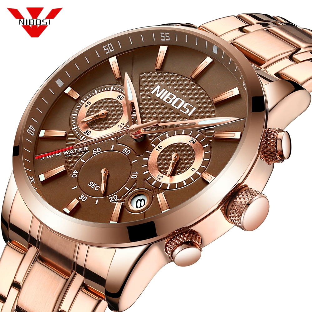NIBOSI Relogio Masculino Mens Watches Top Brand Luxury Rose Steel Quartz Watch Men Casual Sport Chronograph Wristwatch