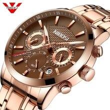 NIBOSI Relogio Masculino رجالي ساعات العلامة التجارية الفاخرة الوردي الصلب ساعة كوارتز الرجال عادية الرياضة كرونوغراف ساعة اليد