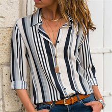 VZFF Womens Shirt Long Sleeve Lapel 2019 Autumn Fashion Office Striped Button Casual Blouse Top