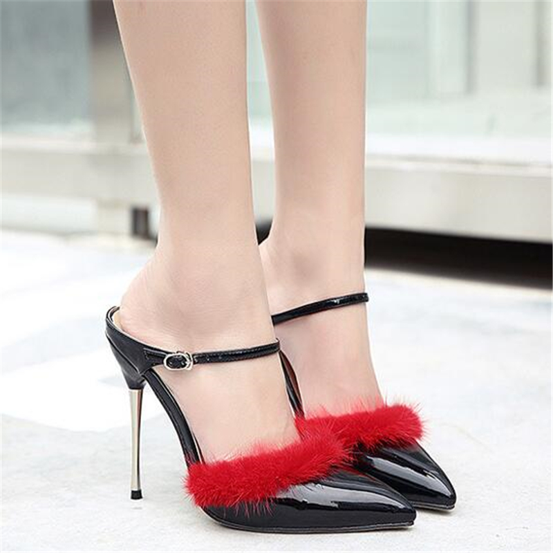 Stiletto Brand Women High Heel Sandals Fur Patent Leather Pumps Gladiator Sandal Shoes Ankle Strap Lady Party Shoes XK033105  shinny patent leather high platform stiletto buckle strap women sandals party dress nude black lady pumps high heel dress shoes