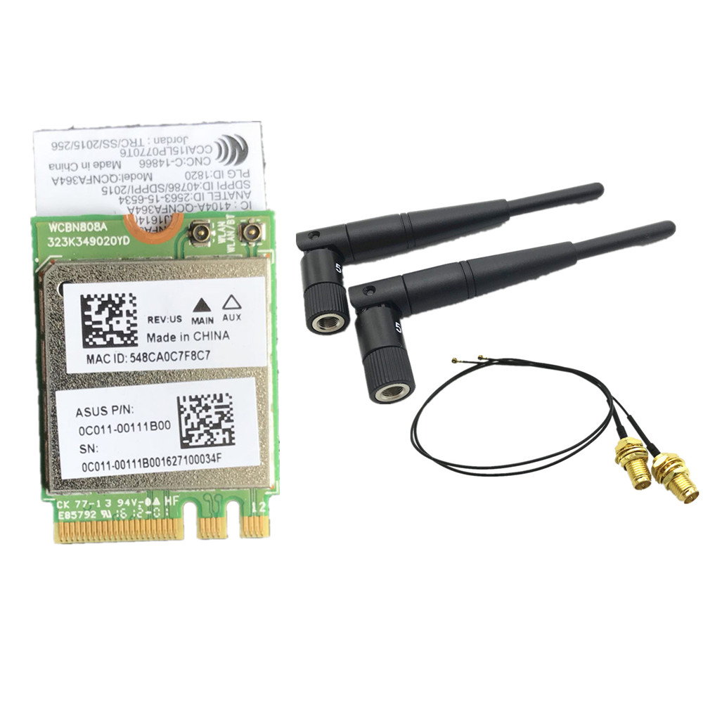 5dbi RP-SMA MHF4 Antennen set + Atheros QCNFA364A 802.11ac 867 Mbps bluetooth BT 4,1 Wifi NGFF M.2 adapter karte 867 mt WCBN808A