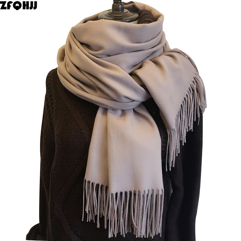 200cmx70cm Winter Oversize Scarves Simple Fashion Warm Blanket Unisex Solid Wraps Cashmere Scarf Shawl Pashmina 30 Colors 240g