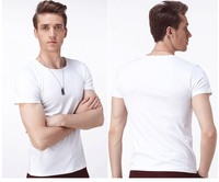 New Mens White Causal Base T Shirt Plain White No Printing Modal Top Tees T Shirt
