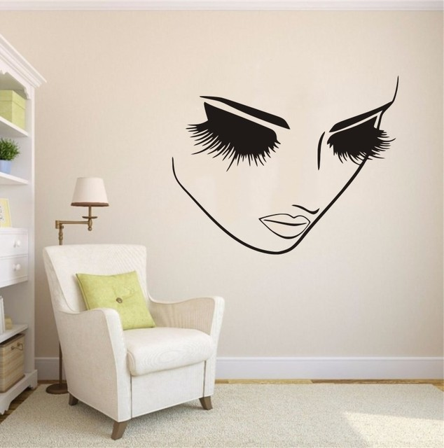 Removable Fashion Home Decor Vinyl Wall Art Decals Sticker Beauty Lashes  Spa Salon Sticker Women Face