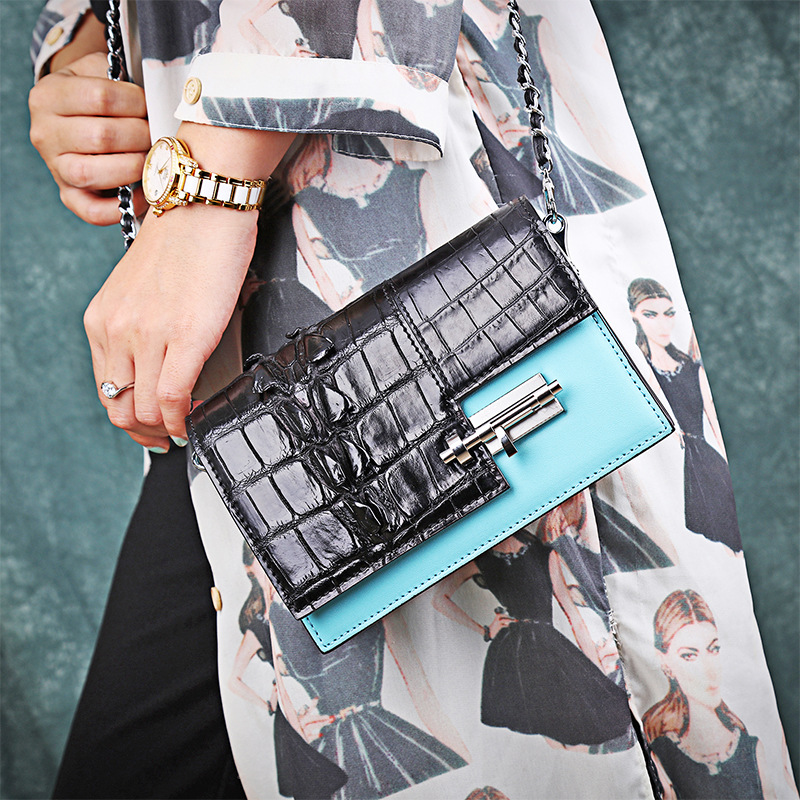 New luxury high end leather crocodile leather shoulder Korean creative crocodile leather color Messenger bag summer