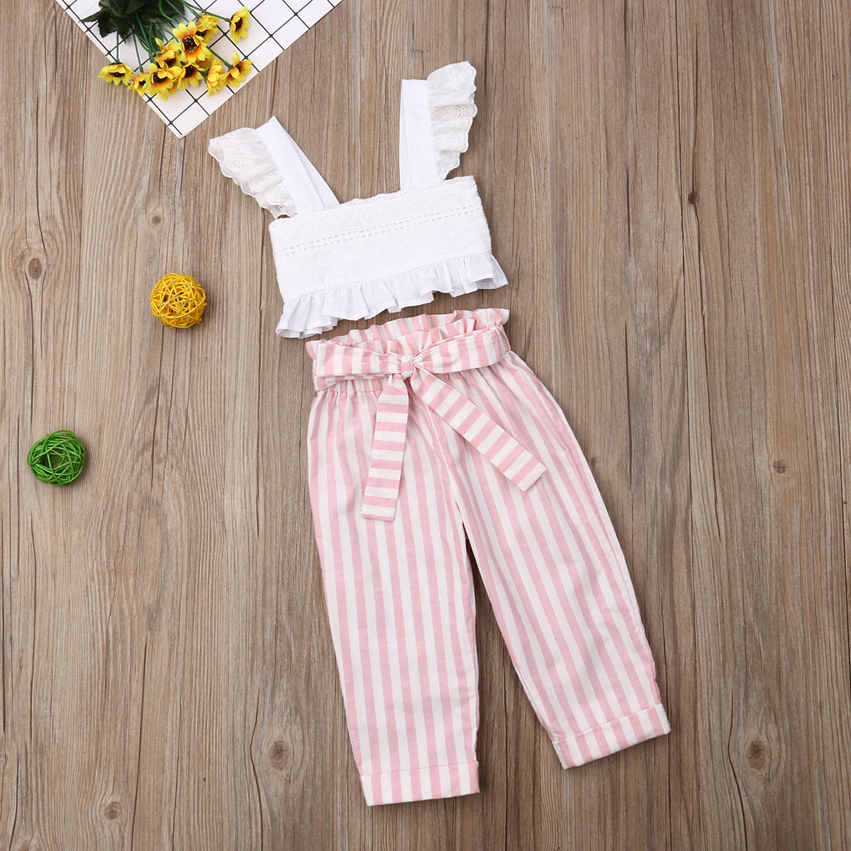 Pudcoco Summer Toddler Baby Girl Clothes Lace Strap Ruffle Crop Tops Striped Long Pants 2Pcs Outfits Clothes Summer