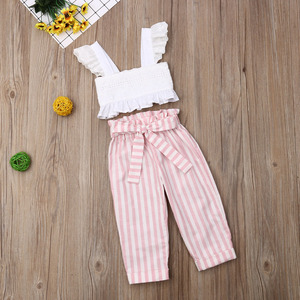Pudcoco Summer Toddler Baby Girl Clothes Lace Strap Ruffle Crop Tops Striped Long Pants 2Pcs Outfits Clothes Summer(China)