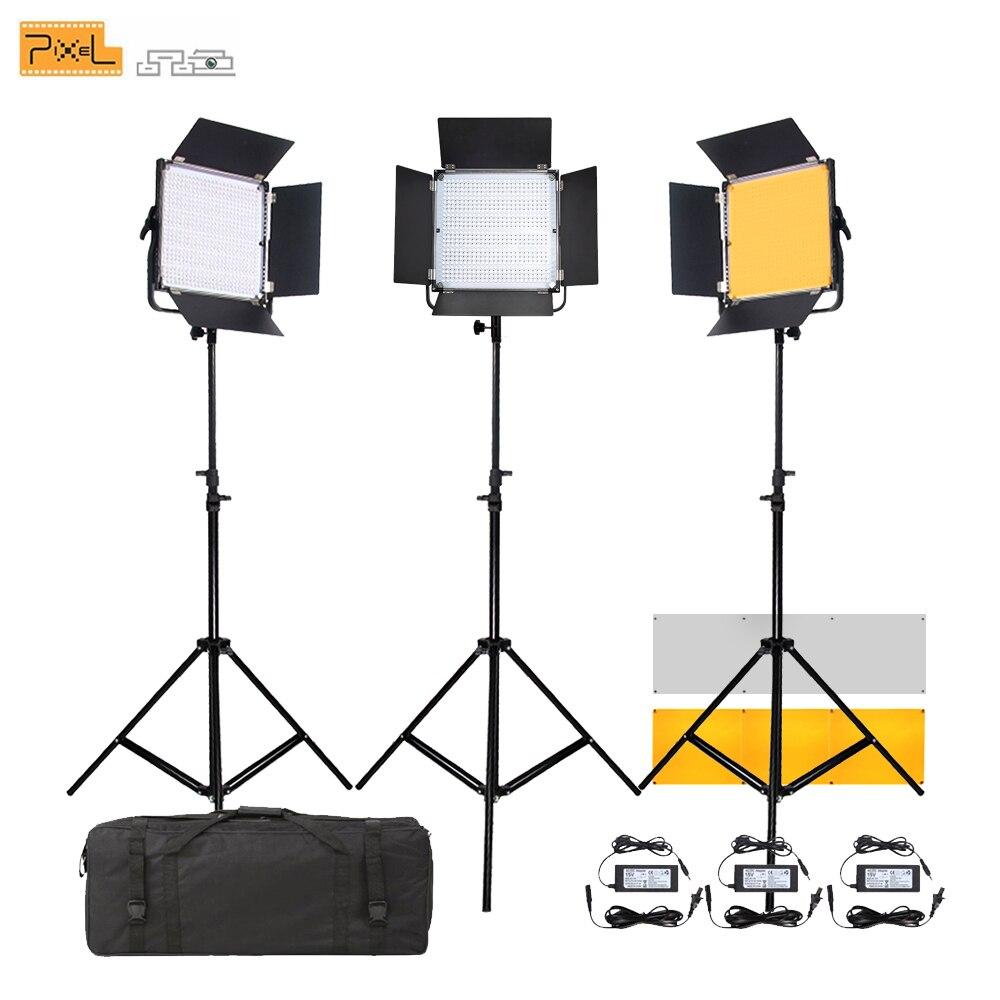 3 Pcs Fotográfica LED luz de Preenchimento luz tripé Pixel K80 Filme Casamento microfilme Sem Fio luzes de Controle Remoto Única cor temperatura