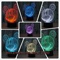Novo 2017 3D Mickey Mouse Criança Luz CONDUZIDA Da Noite Dos Desenhos Animados LED Luz da Noite da lâmpada 3D ilusão Lâmpada Luz Criança do Aniversário Do Natal Presente