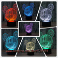 Nuevo 2017 3D de Dibujos Animados de Mickey Mouse Kid Noche de Luz LED LED lámpara de Luz de La Noche de ilusión 3D Lámpara de Luz Niño de Regalo de Navidad de Cumpleaños