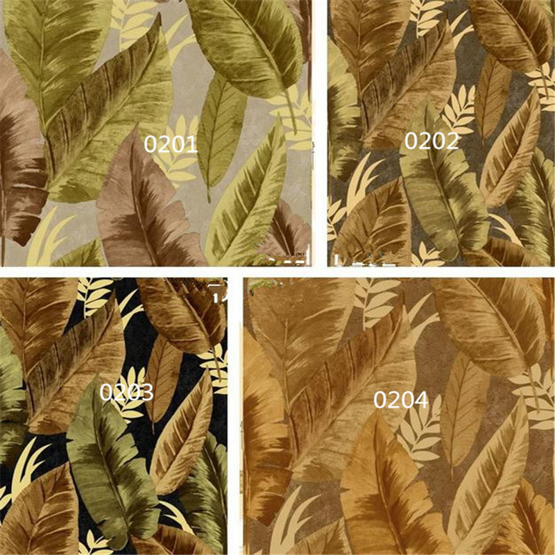vintage non-woven wallpaper southeast Asia banana leaf embossing wall mural living room bedroom background rainforest wallpaper free shipping basketball function restaurant background wall waterproof high quality stereo bedroom living room mural wallpaper