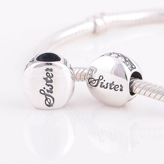 Convient Pandora Charms Bracelet 925 En Argent Sterling Sœur Lettre D\u0027amour  Charme Perles DIY