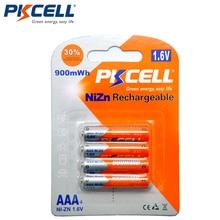 4 шт./упаковка, аккумуляторная батарея PKCELL NIZN 1,6 в 900 МВтч ААА, 3 А