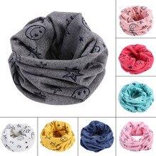 Модный детский шарф, шарфы, теплый шейный платок со смайликом и звездами на зиму, HSJ88