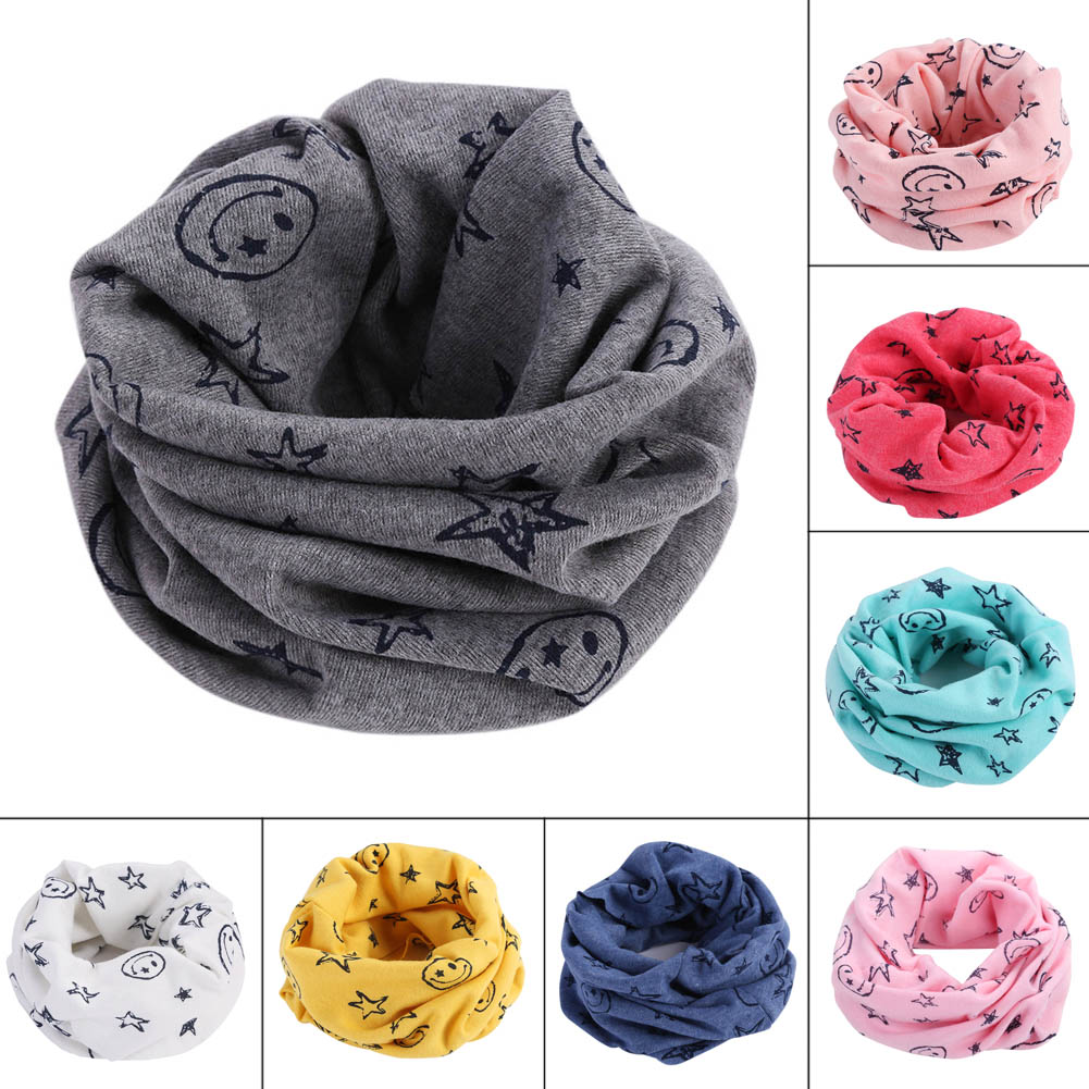 Fashion Children Kids Scarf Scarves Warm Loops Neckerchief Smile Face Stars For Winter HSJ88