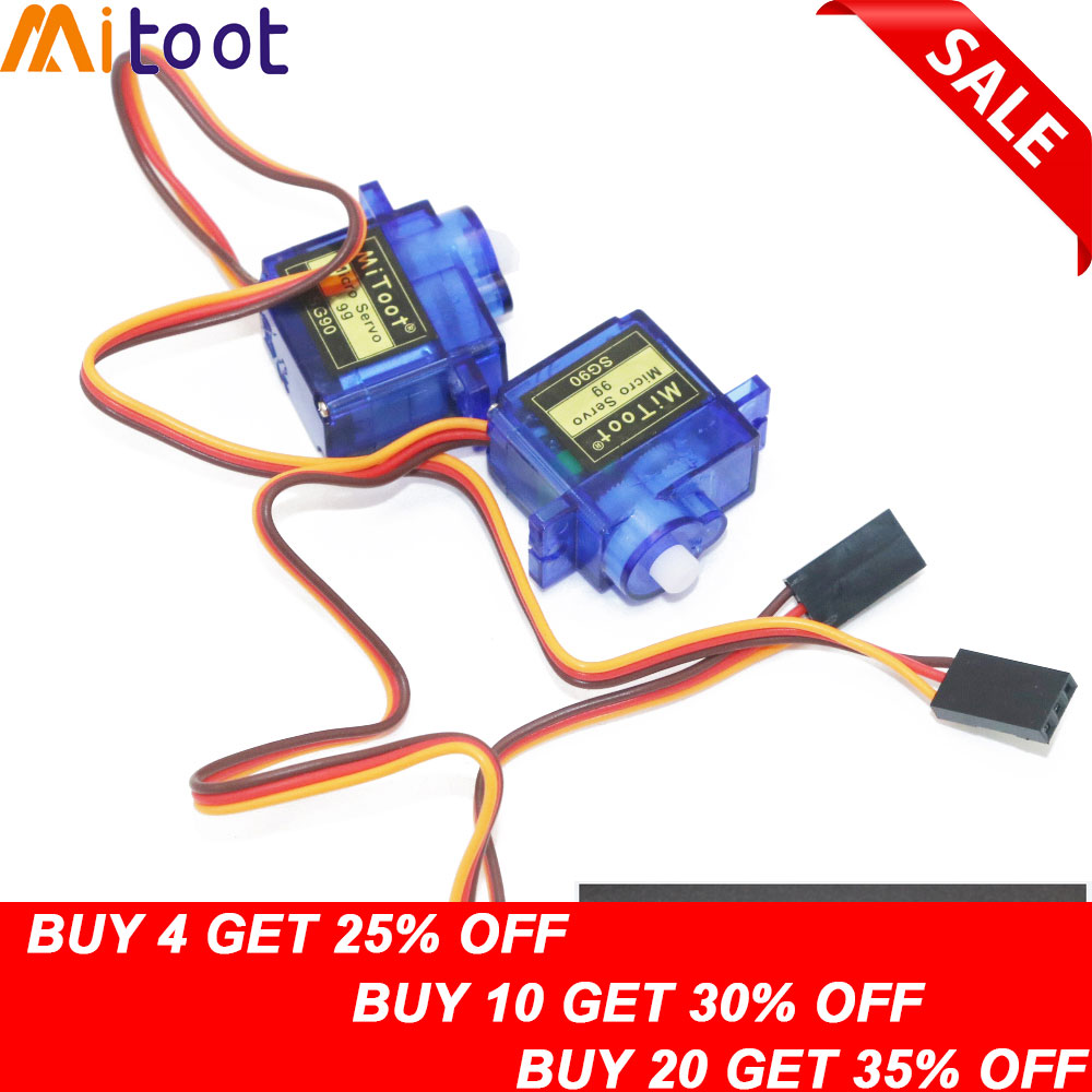 2pcs/lot Mitoot Rc Mini Micro 9g 1.6KG Servo SG90 For RC 250 450 Helicopter Airplane Car Boat For Arduino