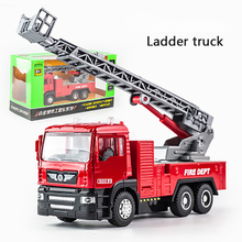 KIDAMI 1:50 Engineering vehicle Ladder truck Alloy Pull Back Diecast Car Model Toy with sound light Gift toys for children children inertia toy car simulator ladder truck firetruck