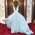 2014 Oscars profundo v-cuello del A-line vestidos hermosos de la noche Lupita Nyong ' o 86a premios de la academia alfombra roja sin respaldo corte