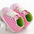 2016 Весной Детская Обувь Новорожденного Обувь Блестками волна полосатый Антипробуксовочная С мягкой Подошвой детская обувь