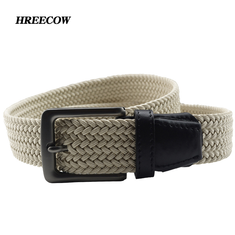 Women Men Braided Elastic Stretch Woven Cotton Canvas Leather Fabric Waist Belt