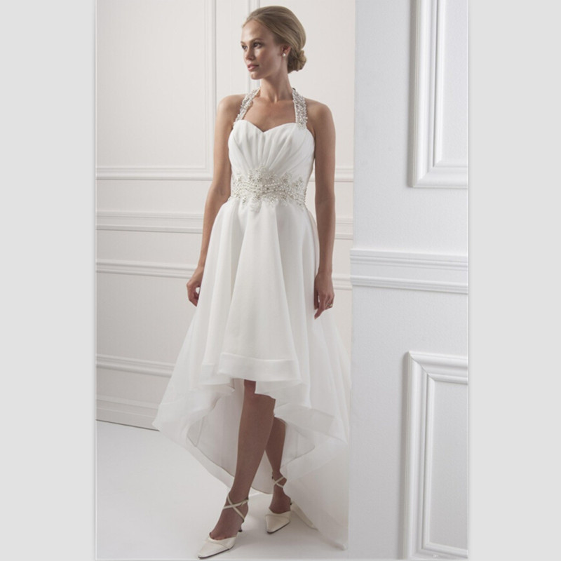 White Chiffon Beach Wedding Dress Short Front Long Back
