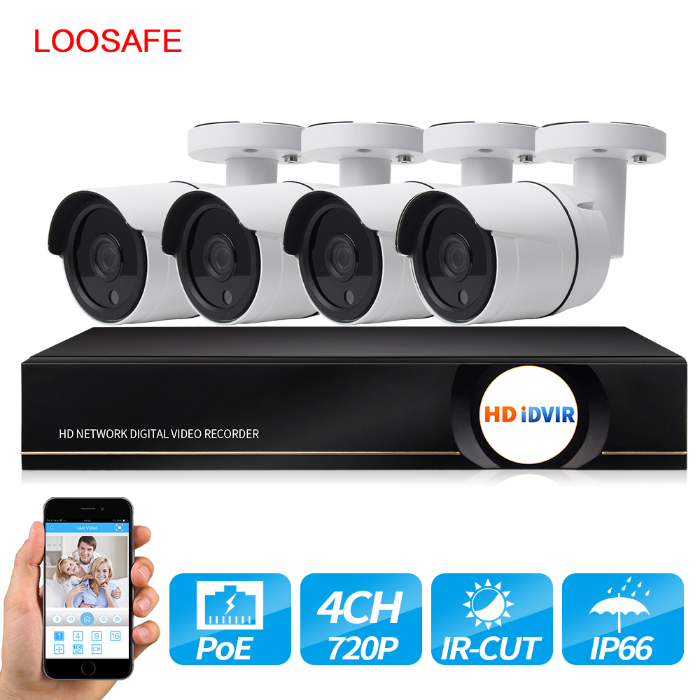 LOOSAFE 720P POE 4CH NVR Wireless CCTV Home Security Camera System CCTV HDD P2P Onvif Surveillance Kit Outdoor Security IP Cam moosafe 4ch 1080p poe nvr kit 4pcs 720p outdoor ip camera p2p onvif ir security cctv system video surveillance kits with 1tb hdd