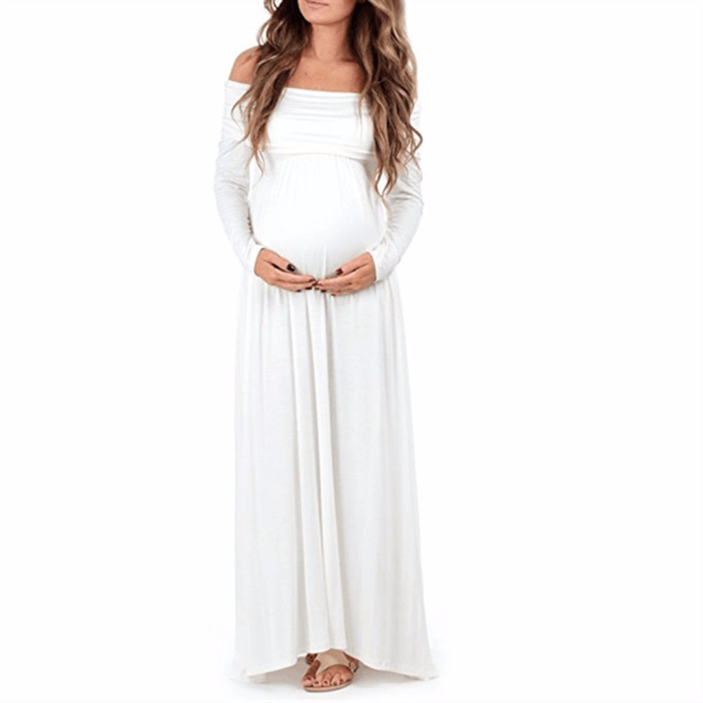 2017 Maternity Dress Sexy Woman long Sleeve Solid Slash Neck Dress Maternty Photography Props Pregnant Dress