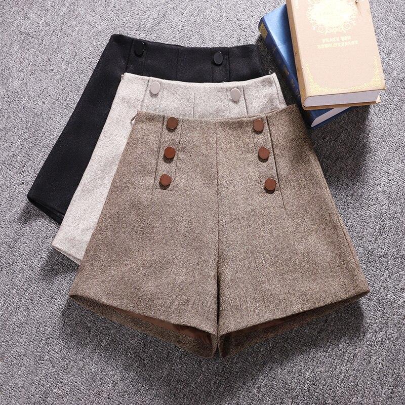 Korean Woolen Shorts Women 2019 Winter Loose Wide Leg Shorts Feminino Autumn A Line Zipper Pocket Buttons Short Femme S-XXL