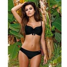 купить Bikini set 2019 New bikini swimsuit for girl Red black bow swimsuit two-piece summer beach sexy stitching Sexy bikini size S-XXL дешево