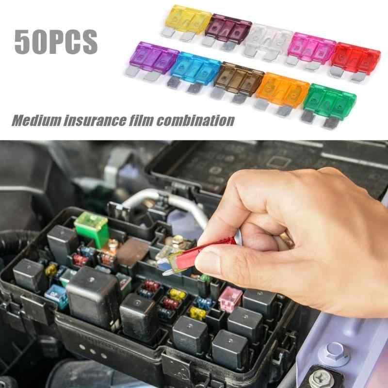 50 قطعة القياسية الصمامات ل السيارات سيارة 3A 5A 7.5A 10A 15A 20A 25A 30A 35A 40A مع صندوق تخزين + كليب