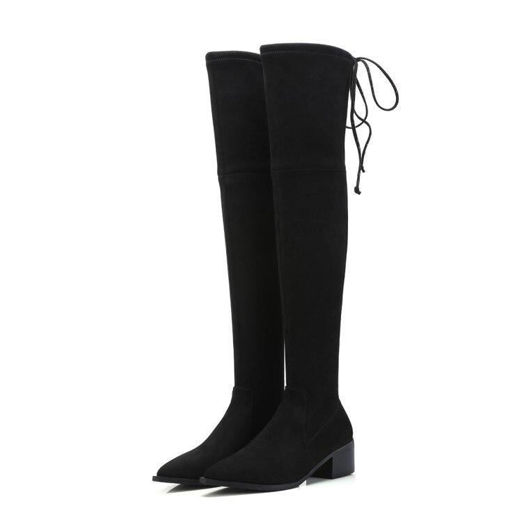 Pointu Talons Mljuese Up 1 Femmes Haute Robe Noir black Couleur Bottes Bout Le En Vache Haut 2018 2 Lace De Carrés Genou Sur Cuir Partie Black 7ra7qpx