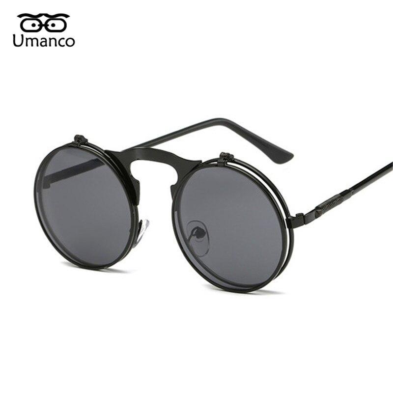 b30913d224282 Umanco 2019 Steampunk Óculos De Sol Das Mulheres Dos Homens de Metal Moda  Retro Rodada Sombra