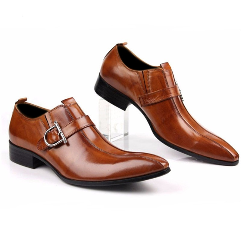 Les Hommes De Grande Taille Bout Pointu Chaussures D'affaires En Cuir De Vache FUzOlOg0Z1