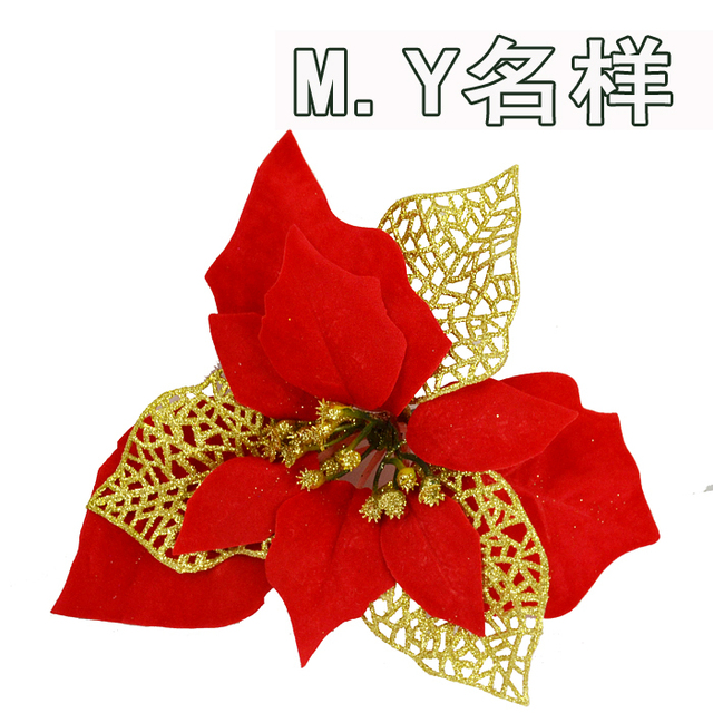 New arrival Christmas hanging  Decoration 20cm red christmas flower
